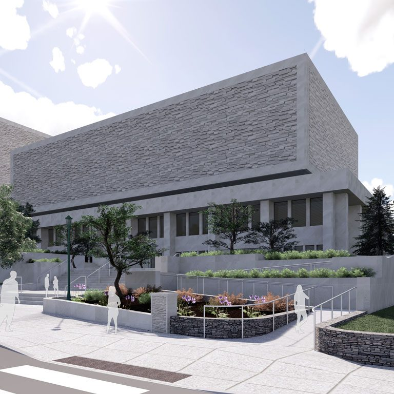 Wells Library exterior ramp rendering