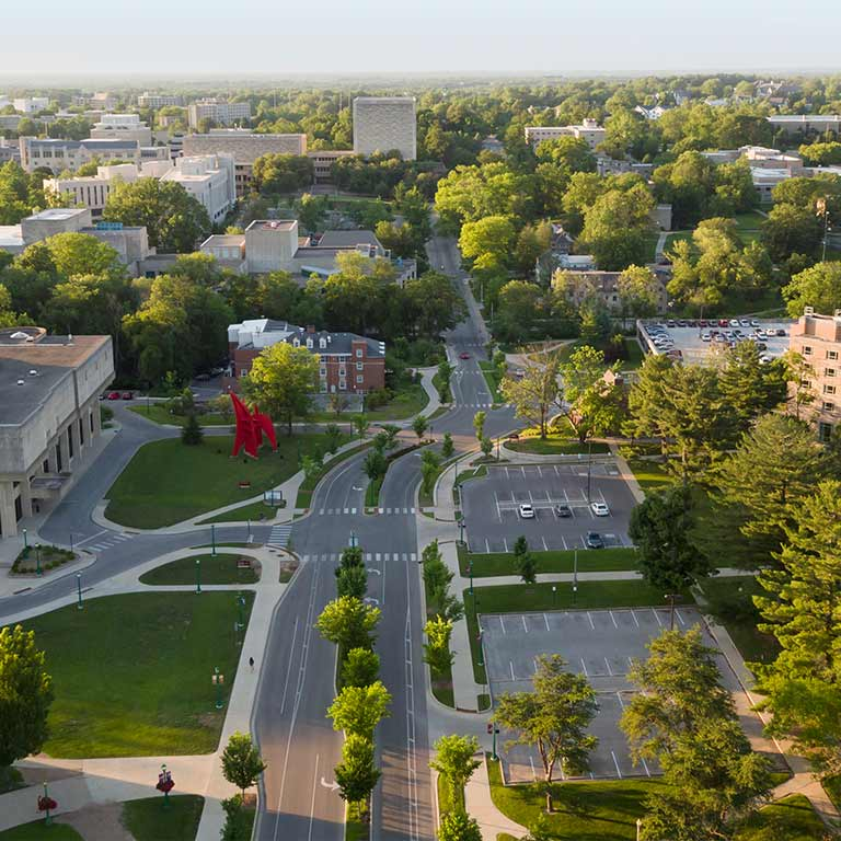 Aerial view of the IU Bloomington campus showing the Musical Arts Center and the Wells Library